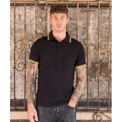 Plain Stretch tipped polo T-shirts AWDis Just Polo's 200 GSM