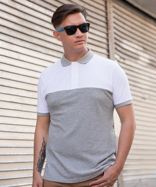 Plain Colour block polo T-shirts AWDis Just Polo's 180 GSM