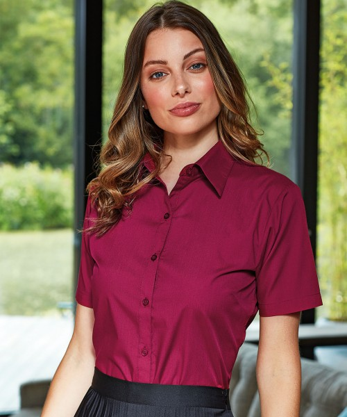Plain Women's short sleeve poplin blouse Shirts Premier White 115. Colours 105 GSM