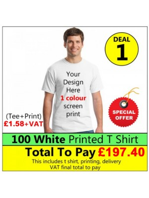 100 White t shirts 1 colour printed Deal 1 - Stars & Stripes