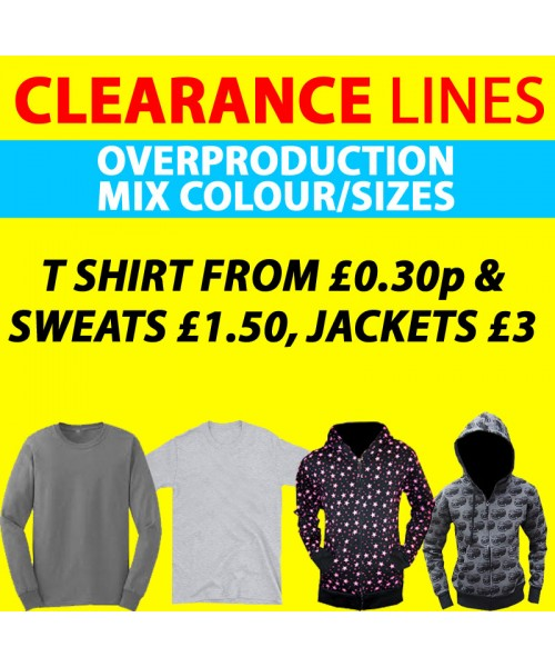 Clearance Line Mix sizes, styles in T shirts, sweats and jackets