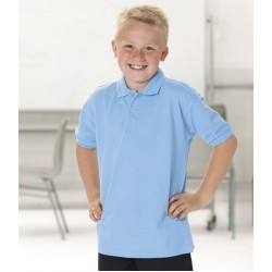 Plain Polo Shirt Pique Russell White 210 gsm Cols 215 GSM Kids