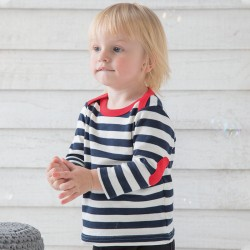 Sustainable & Organic T-Shirts Baby stripy long sleeve T (with elbow patches) Kids  Ecological BABYBUGZ brand wear