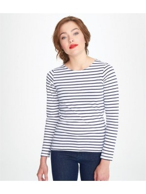 Plain LADIES MARINE LONG SLEEVE STRIPE T-SHIRT SOLS 150 GSM