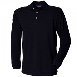 Plain Polo Shirt Long Sleeve Classic Pique Henbury 225 GSM