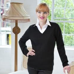 Plain V Neck Sweater Ladies Lambswool Henbury