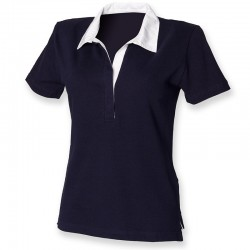Plain Rugby Shirt Ladies Short Sleeve Front Row 240 GSM