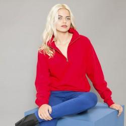 Plain Sweatshirt Sophomore Zip Neck AWDis Just Hoods 280 GSM