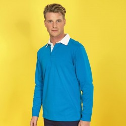 Plain Men's classic fit long sleeve vintage rugby shirt Asquith & Fox 260 GSM