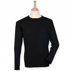 Plain Jumper Cable Knit Crew Neck Front Row