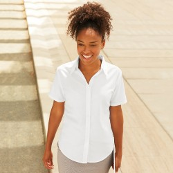 Plain Oxford Shirt Fit Short Sleeve Fruit of the Loom White 130 gsm Cols 135 GSM