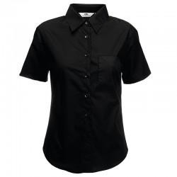 Plain shirt Lady-fit poplin short sleeve FRUIT of the LOOM 115 GSM