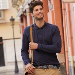 Plain Polo Shirt Long Sleeve Pique Fruit of the Loom White 170 gsm Cols 180 GSM