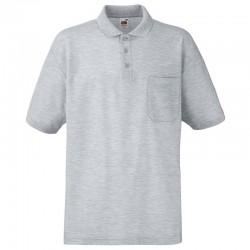 Plain Polo Shirt Pocket Pique Fruit of the Loom White 170 gsm Cols 180 GSM