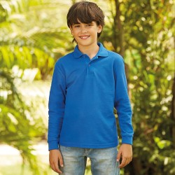 Plain Kids long sleeve 65/35 polo Fruit Of The Loom White 170, Colours 180 GSM