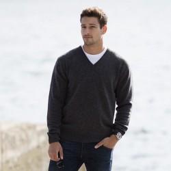 Plain V Neck Sweater Lambswool Henbury
