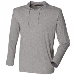 Plain T-Shirt Long Sleeve Hooded Skinnifit 140 gsm