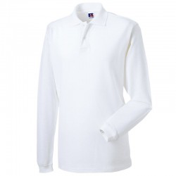 Plain Polo Shirt Long Sleeve Pique Russell White 195 gsm Cols 200 GSM