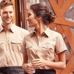 Plain Women's roll-sleeve short sleeve shirt Russell Collection 130 GSM