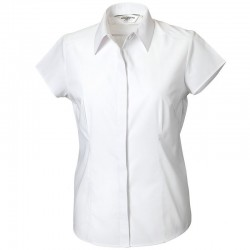 Plain Poplin Shirt Collection Ladies Cap Russell White 110 gsm Cols 115 GSM