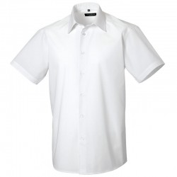 Plain Poplin Shirt Short Sleeve Tailored Russell White 110 gsm Cols 115 GSM