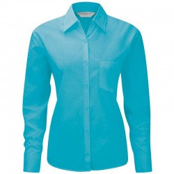Plain Poplin Shirt Long Sleeve Easy Care Russell White 100 gsm Cols 110 GSM
