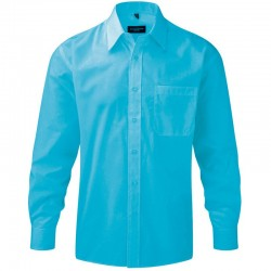 Plain Poplin Shirt Collection Long Sleeve Russell White 100 gsm Cols 110 GSM