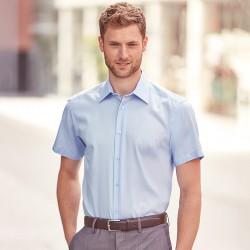 Plain Non-Iron Shirt Short Sleeve Tailored Russell 120 GSM