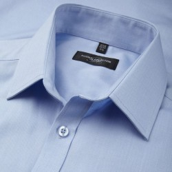 Plain Herringbone Shirt Collection Short Sleeve Russell White 125 gsm Light Blue 130 gsm