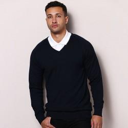 Plain V-neck fully fashioned jumper Maddins 14 Gauge