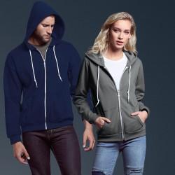 Plain Sweatshirt Fashion Full Zip Hooded Anvil 245 GSM