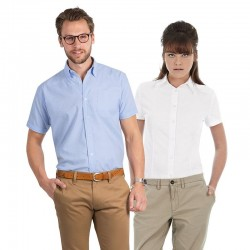 Plain Oxford short sleeve /men B&C 135 GSM