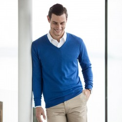 Plain V Neck Sweater Lightweight Henbury