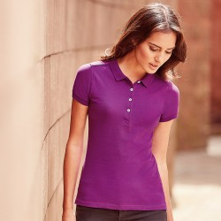 Plain Polo Shirt Ladies Stretch Pique Russell White 205 gsm Cols 210 GSM