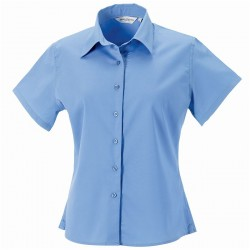 Plain Collection Ladies Short Sleeve Classic Twill Shirt Russell 130 GSM