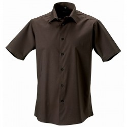 Plain Shirt Short Sleeve Easy Care Fitted Russell 115 GSM