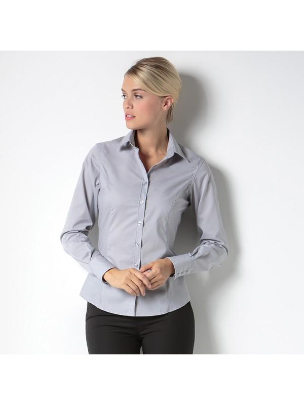 Plain Business Shirt Ladies Long Sleeve Kustom Kit 105 Gsm