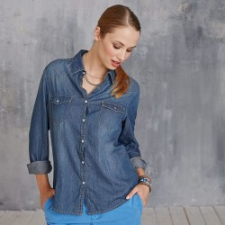 Plain Denim Shirt Ladies Long Sleeve Kariban 150 GSM