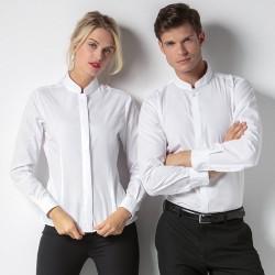Plain Women's mandarin collar fitted shirt long sleeve Kustom Kit 115 GSM
