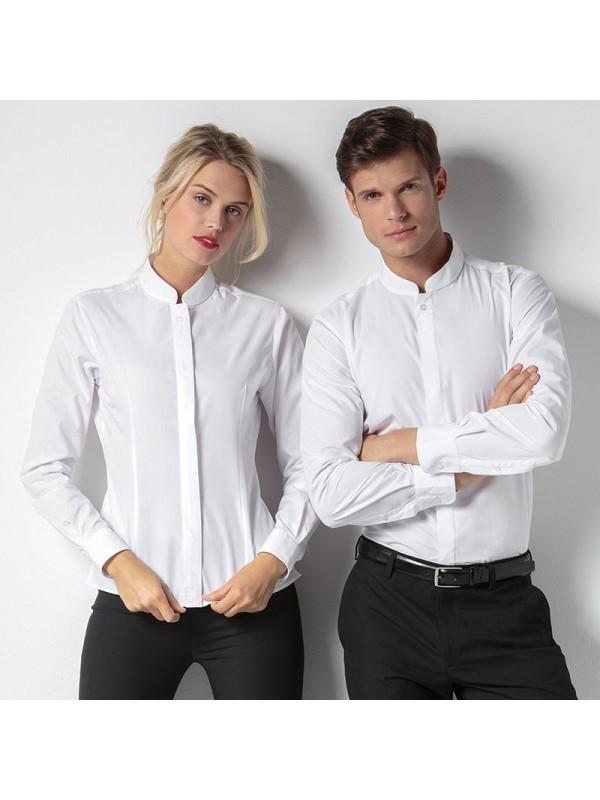 46ee8a49daaf Plain Women s mandarin collar fitted shirt long sleeve Kustom Kit 115 GSM