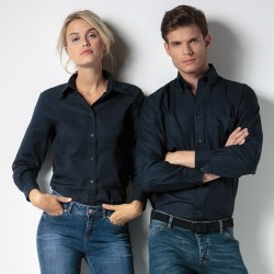 Plain Oxford Shirt Long Sleeve Kustom Kit 135 GSM