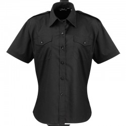 Plain Ladies Short Sleeve Pilot Shirt Premier 105 GSM
