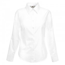 Plain long sleeve shirt Lady-fit Oxford FRUIT of the LOOM White 130gsm