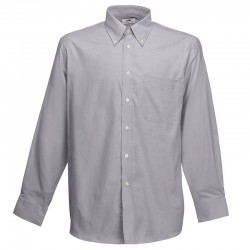 Plain Oxford Shirt Long Sleeve Fruit of the Loom White 130 gsm Cols 135 GSM