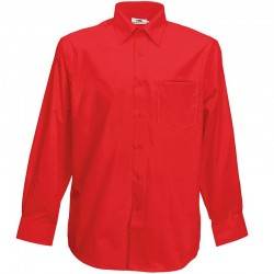 Plain Poplin Shirt Long Sleeve Fruit of the Loom White 115 gsm Cols 120 GSM