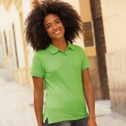 Plain Polo Shirt Lady Fit Premium Pique Fruit of the Loom White 170 gsm Cols 180 GSM