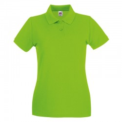 Plain Polo Shirt Lady Fit Premium Pique Fruit of the Loom White 170 gsm Cols 180 GSM