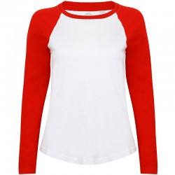 LADIES LONG SLEEVE BASEBALL T-SHIRT Skinnifit 140 GSM