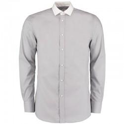 Plain Collar Business Shirt Long Sleeve Contrast Kustom Kit 105 GSM