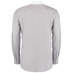 Plain Collar Business Shirt Long Sleeve Contrast Kustom Kit 105 GSM